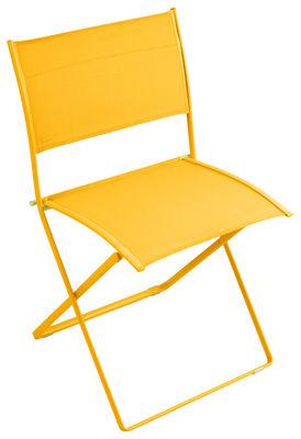Chaise pliante plein air toile miel fermob - Chaise pliante toile ...