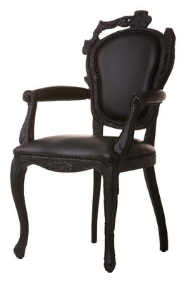 Back to school - Must-Have - Smoke Dining Armchair Padded armchair by Moooi - Black leather - Burned wood, Leather