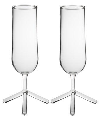 Arts de la table - Verres  - Flûte à champagne Tripod / Lot de 2 - Th Manufacture - Transparent - Verre borosilicaté