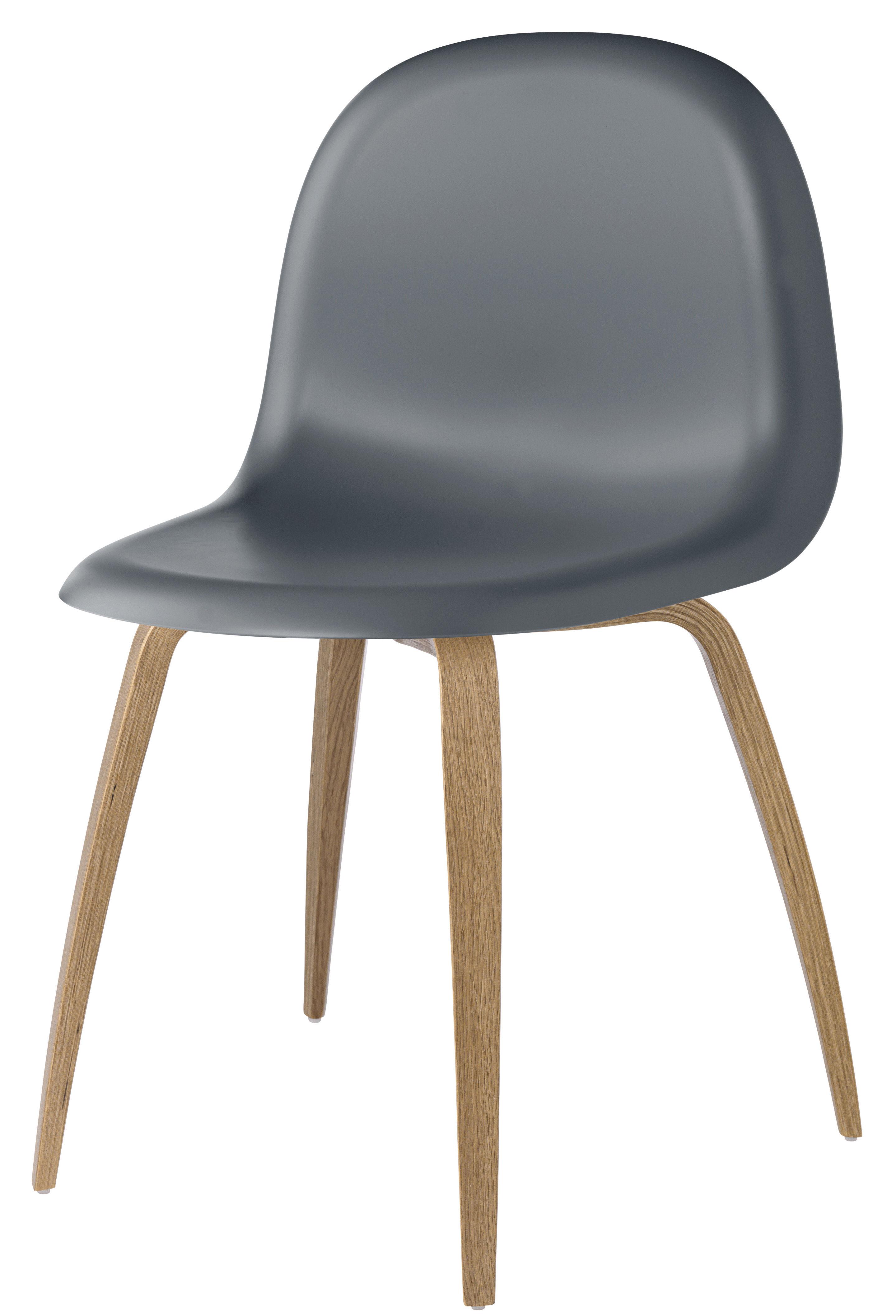 Chaise Gubi 5 Coque plastique& pieds bois Coque gris minuit Pi u00e8tement ch u00eane Gubi # Chaise Coque Plastique Pied Bois