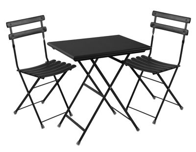Set table & chaises Arc en Ciel / Table 70x50cm + 2 chaises - Emu noir en métal