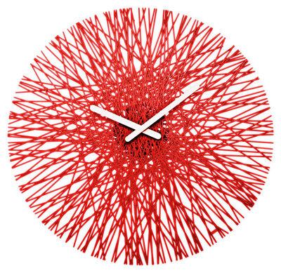 Déco - Horloges  - Horloge murale Silk - Koziol - Rouge transparent - Polycarbonate