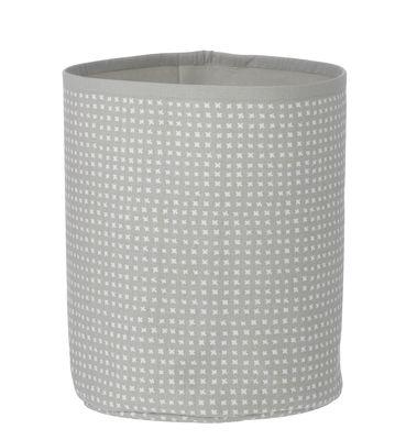 Déco - Pour les enfants - Corbeille Grey Cross Basket / Small - H 25 cm - Ferm Living - H 25 cm - Gris & Blanc - Coton