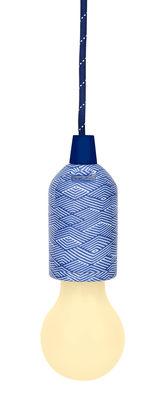 Dekoration - Für Kinder - Pull Cord Lampe ohne Kabel / LED - Aufhängekabel mit Stoff ummantelt - Sunnylife - Motiv Montauk / himmelblau - ABS, Gewebe