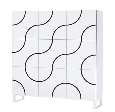 Mobilier - Meubles de rangement - Rangement Infinity / 9 portes - L 150 x H 166 cm - Façade aimantée modulable - Horm - Blanc / Rainures hêtre - Hêtre teinté, Mélaminé laqué, Métal laqué