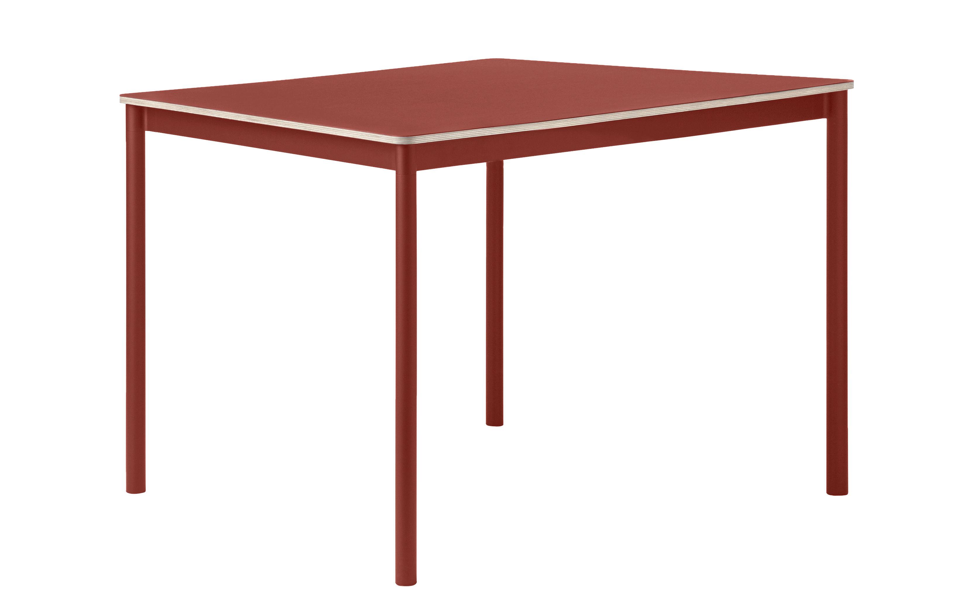 Table base plateau bois 140 x 80 cm rouge sombre muuto for Table 140 x 80 design