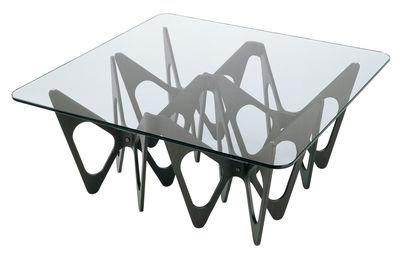 Mobilier - Tables basses - Table basse Butterfly / Carrée - 90 x 90 cm - Zanotta - Structure noire - Contreplaqué plaqué rouvre teinté, Verre