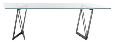Table QuaDror02 / 250 x 120 cm - Plateau verre oblique - Horm transparent,métal brut en métal