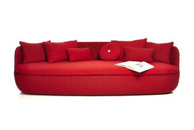 Canapé droit Bart / L 235 cm - Assise profonde - Tissu Rouge passion ...