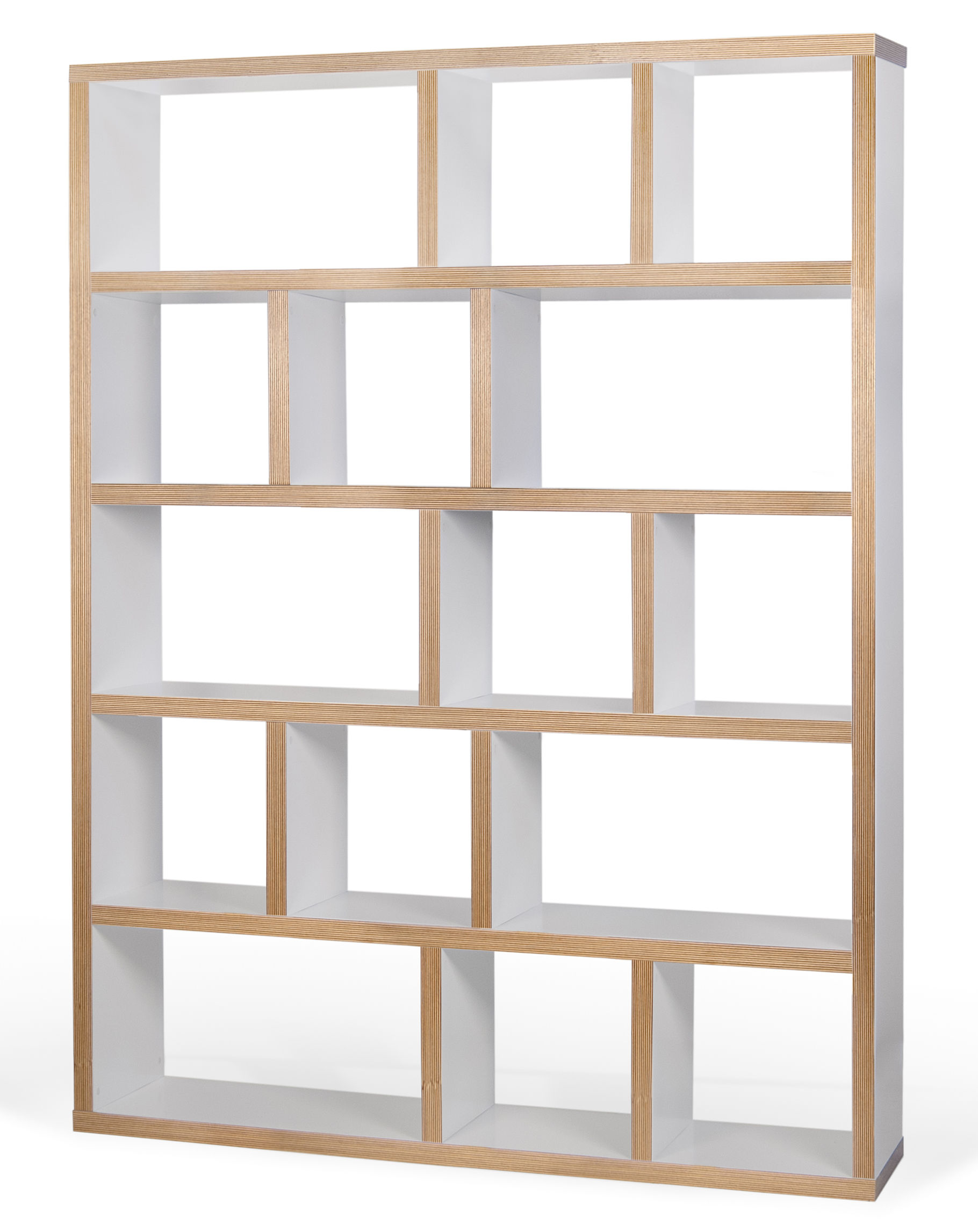 biblioth que rotterdam l 150 x h 198 cm blanc tranches bois pop up home. Black Bedroom Furniture Sets. Home Design Ideas