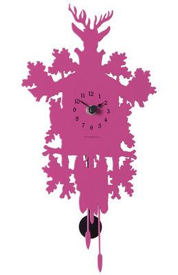 Déco - Horloges  - Horloge murale Cucù Mignon / Avec balancier - H 34 cm - Diamantini & Domeniconi - Magenta - Acier