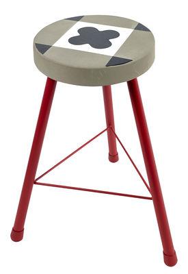 Tabouret Feeling / Béton motifs carreaux de ciment - H 45 cm - Serax rouge,gris en métal