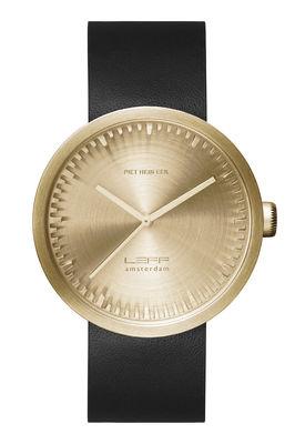 Montre D42 Bracelet cuir LEFF amsterdam noir,laiton en métal