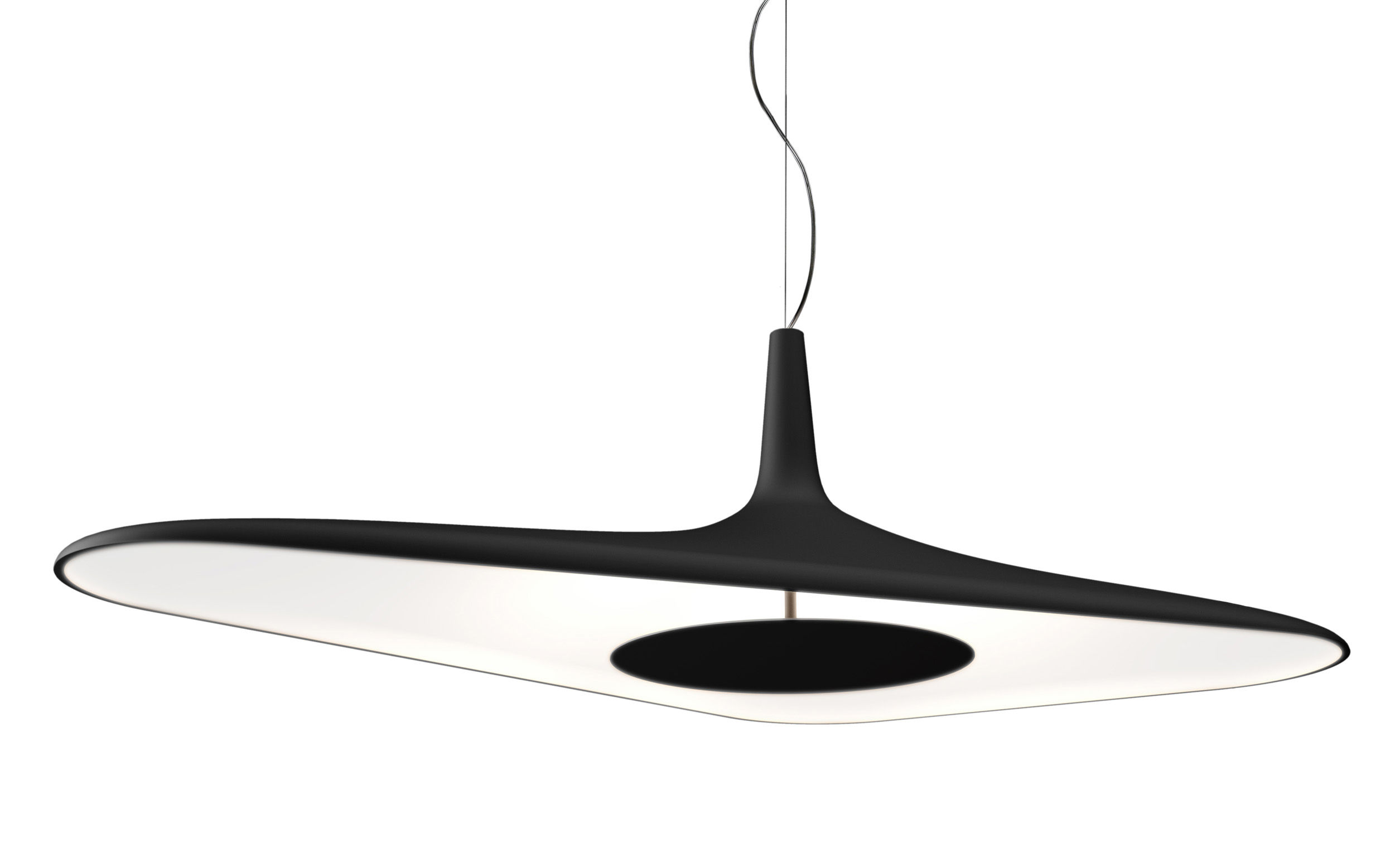 Soleil noir pendant led 120 x 62 5 cm black by luceplan for Luminaire noir suspension