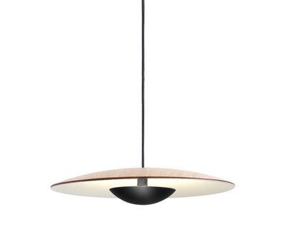 Luminaire - Suspensions - Suspension Ginger / Bois & métal - Ø 19,5 cm - Marset - Chêne / Coupelle noire - Contreplaqué de chêne, Métal laqué