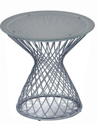 Mobilier - Tables basses - Table d'appoint Heaven / Ø 45 cm - Emu - Aluminium / Plateau verre trempé fumé - Acier, Verre