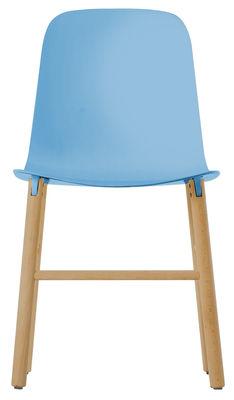 Chaise Sharky - Kristalia bleu clair,bois naturel en matière plastique