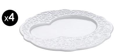Arts de la table - Assiettes - Assiette Dressed / à déjeuner - Ø 16 cm - Lot de 4 - Alessi - Blanc - Porcelaine