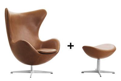 fauteuil pivotant egg chair cuir offert 1 repose pieds cuir marron fritz hansen. Black Bedroom Furniture Sets. Home Design Ideas