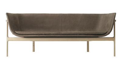 Tailor Sofa / Leder - L 180 cm - Menu - Braun,Holz natur
