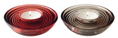 Bougeoir Castagna / Set de 2 - Ø 13 cm - Leonardo rouge,taupe en verre
