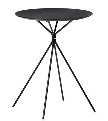 Mobilier - Tables basses - Table d'appoint Herman / Ø 45 x H 57 cm - Ferm Living - Noir - Laiton, Métal, Plaqué frêne
