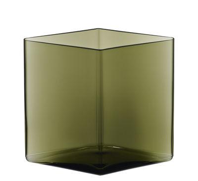 Déco - Vases - Vase Ruutu par R. & E. Bouroullec / L 20,5 x H 18 cm - Iittala - Vert mousse - Verre soufflé bouche