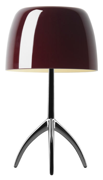 lampe de table lumi re grande variateur h 45 cm cerise pied noir chrom foscarini. Black Bedroom Furniture Sets. Home Design Ideas