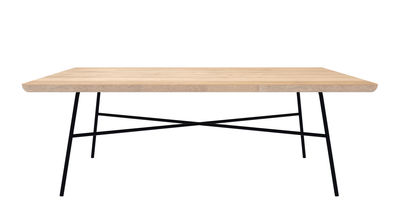 Tavolino basso Disc / 100 x 60 cm - Universo Positivo - Nero,Rovere naturale - Metallo
