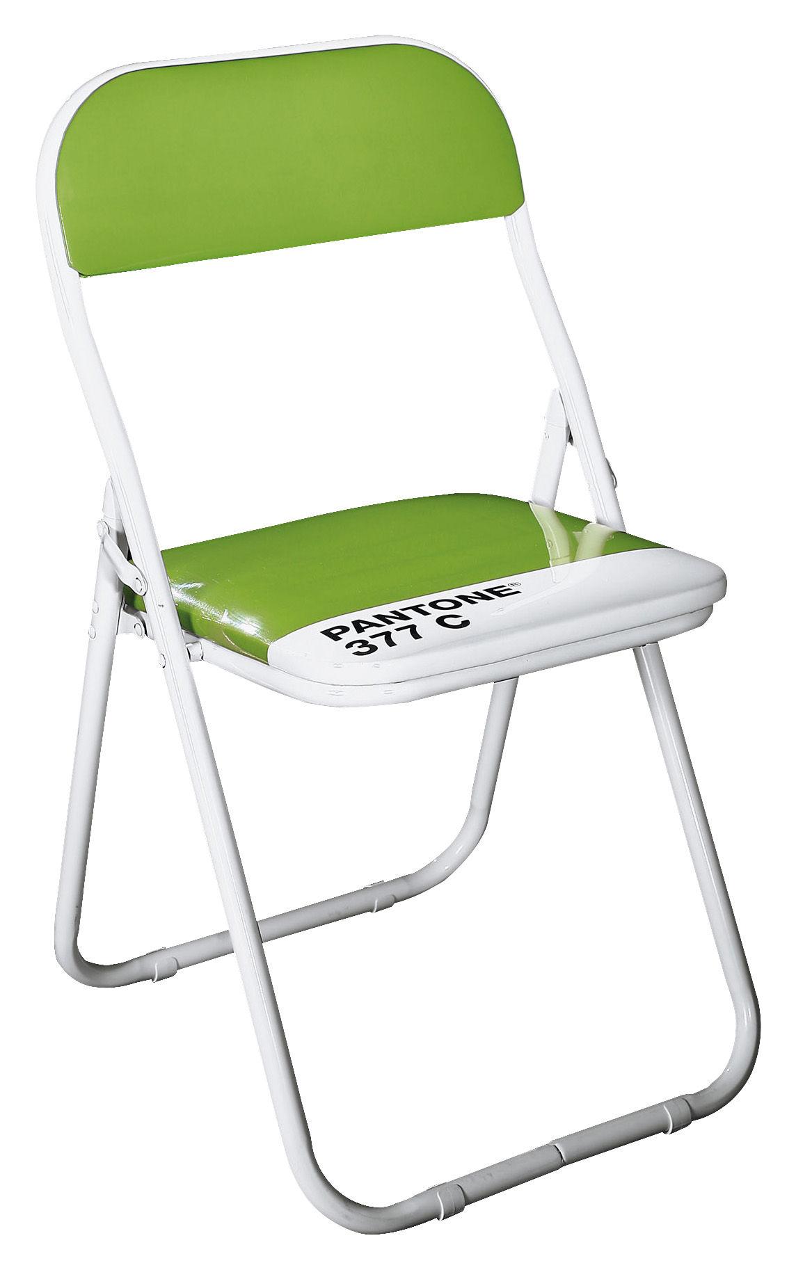 Chaise pliante pantone plastique structure m tal 377c vert perroque - Chaise pliante pantone ...