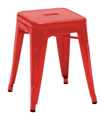 Furniture - Stools - H Stackable stool - Lacquered steel - H 45 cm by Tolix - Red - Lacquered steel