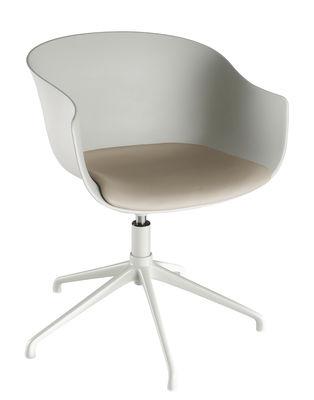 Mobilier - Chaises, fauteuils de salle à manger - Fauteuil pivotant Bai / Galette d'assise tissu - 4 pieds métal - Ondarreta - Gris très clair - Acier, Polypropylène, Tissu