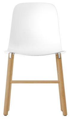 Chaise Sharky / Plastique & pieds bois - Kristalia blanc,bois naturel en matière plastique