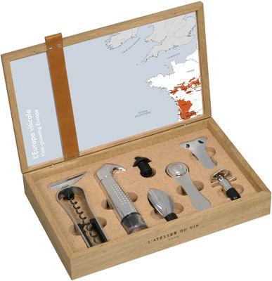 Coffret Oeno Box collector /Coffret œnologie ouverture et service 6 pièces - L´Atelier du Vin bois naturel en liège