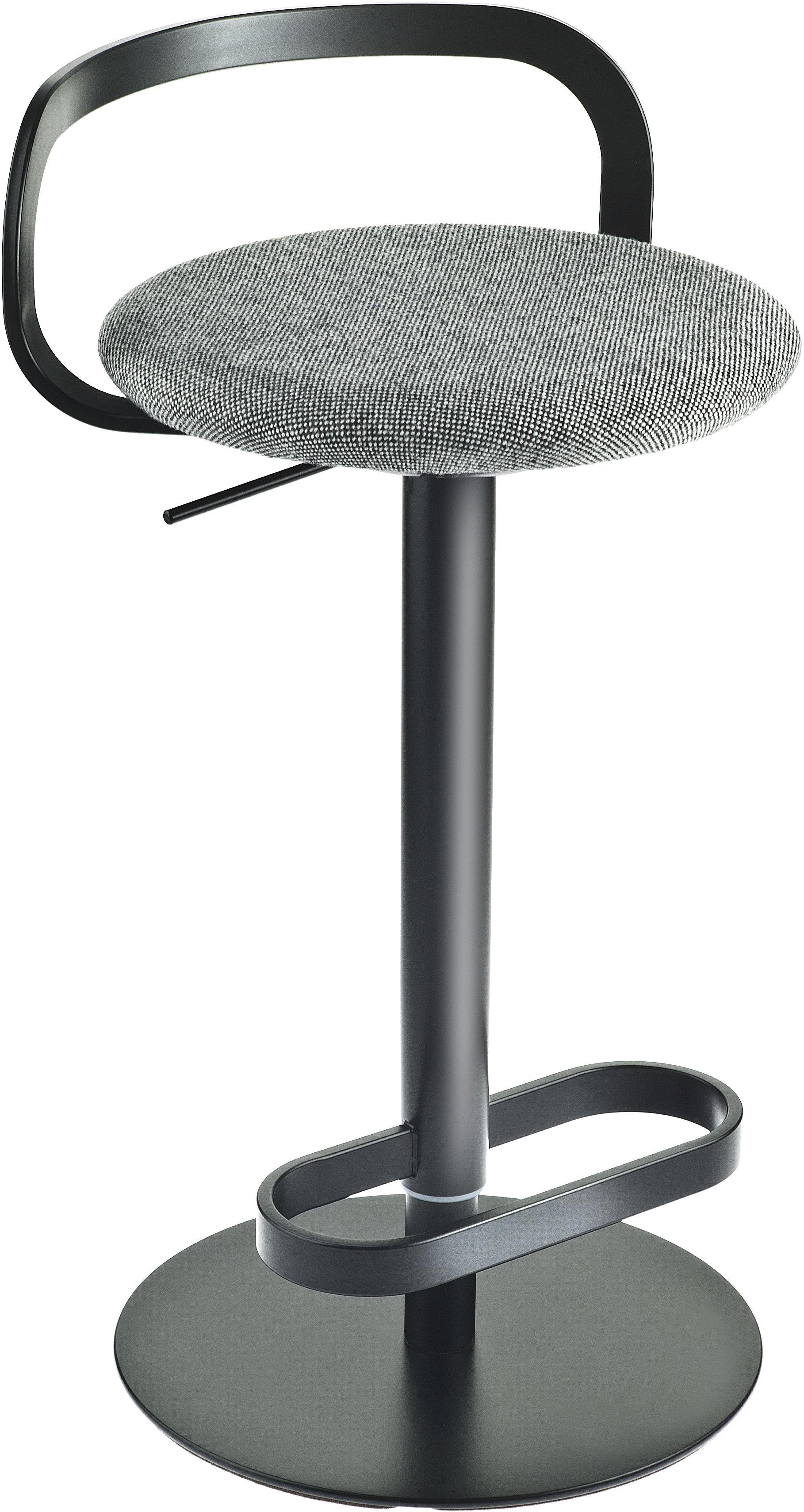 tabouret haut r glable mak pivotant assise rembourr e tissu assise tissu gris structure. Black Bedroom Furniture Sets. Home Design Ideas