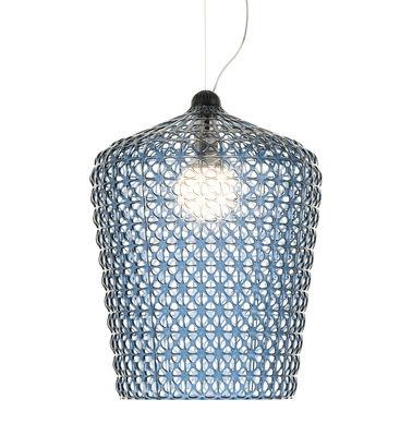 Leuchten - Pendelleuchten - Kabuki Pendelleuchte / Ø 50 cm x H 73 cm - Kunststoff-Gitter - Kartell - Blau (transparent) - Technopolymère thermoplastique