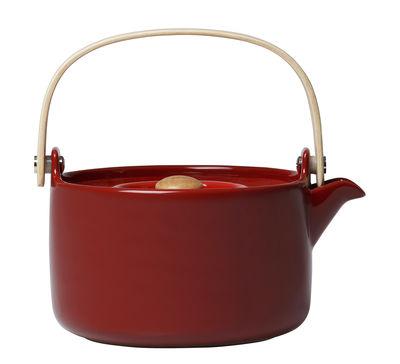 Théière Oiva 70 cl Poignée bois Marimekko rouge en céramique