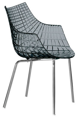 Mobilier - Chaises, fauteuils de salle à manger - Fauteuil Meridiana / Polycarbonate - 4 pieds - Driade - Fumé gris / Pieds métal - Acier chromé, Polycarbonate