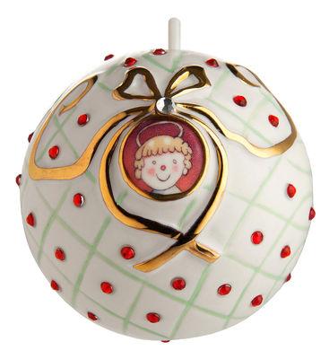 Boule de Noël Faberjorì / San Bambino - Porcelaine peinte main - Alessi blanc,rouge,or en céramique