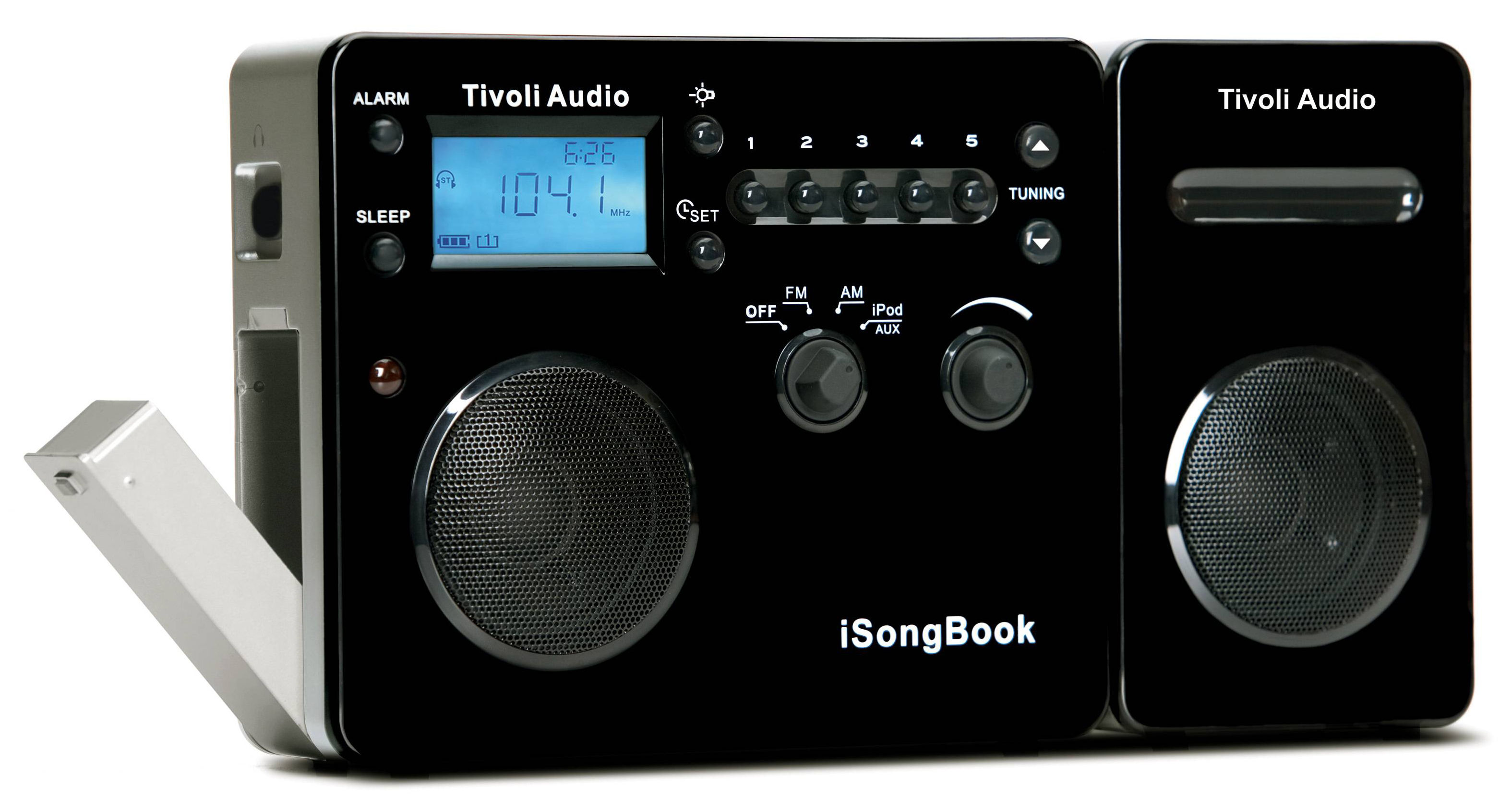 isong book clock radio speaker compatible with ipod. Black Bedroom Furniture Sets. Home Design Ideas