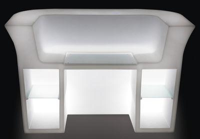 bureau lumineux my desk l 180 cm blanc slide. Black Bedroom Furniture Sets. Home Design Ideas