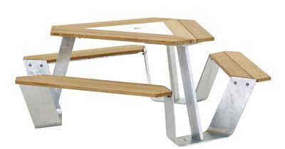 Set table & bancs Anker / Ø 216 cm - 6 personnes - Extremis blanc,bois clair,acier galvanisé en métal
