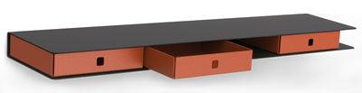 Etagère Alizé / 3 tiroirs - L 80 cm - Matière Grise orange,anthracite en métal