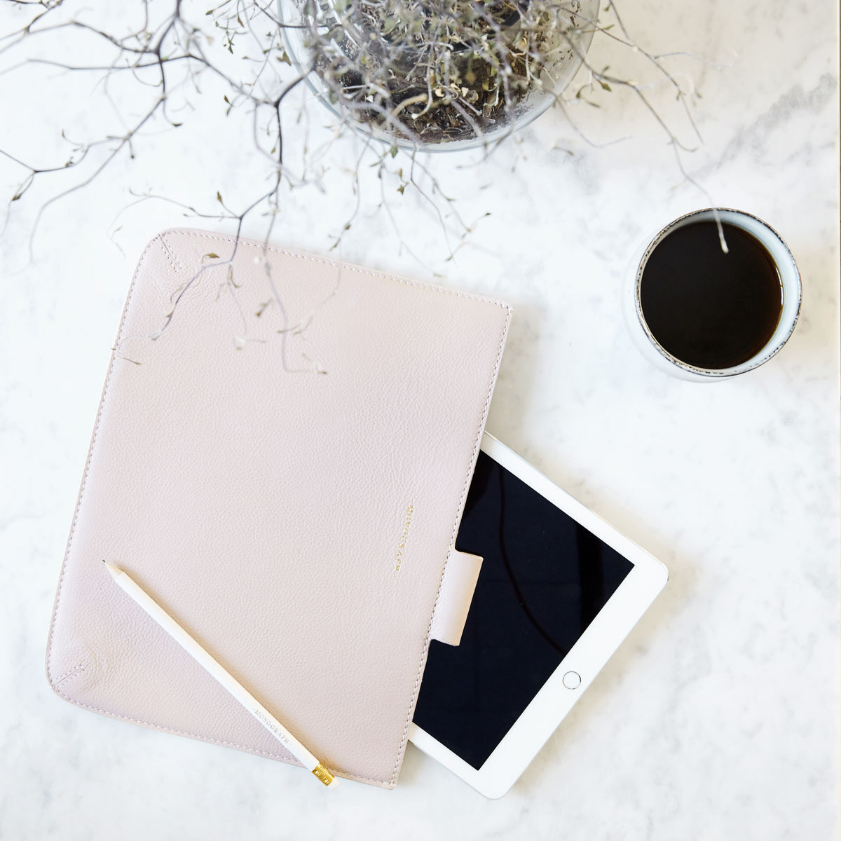 monograph tablet cover ipad leather pink by house doctor. Black Bedroom Furniture Sets. Home Design Ideas