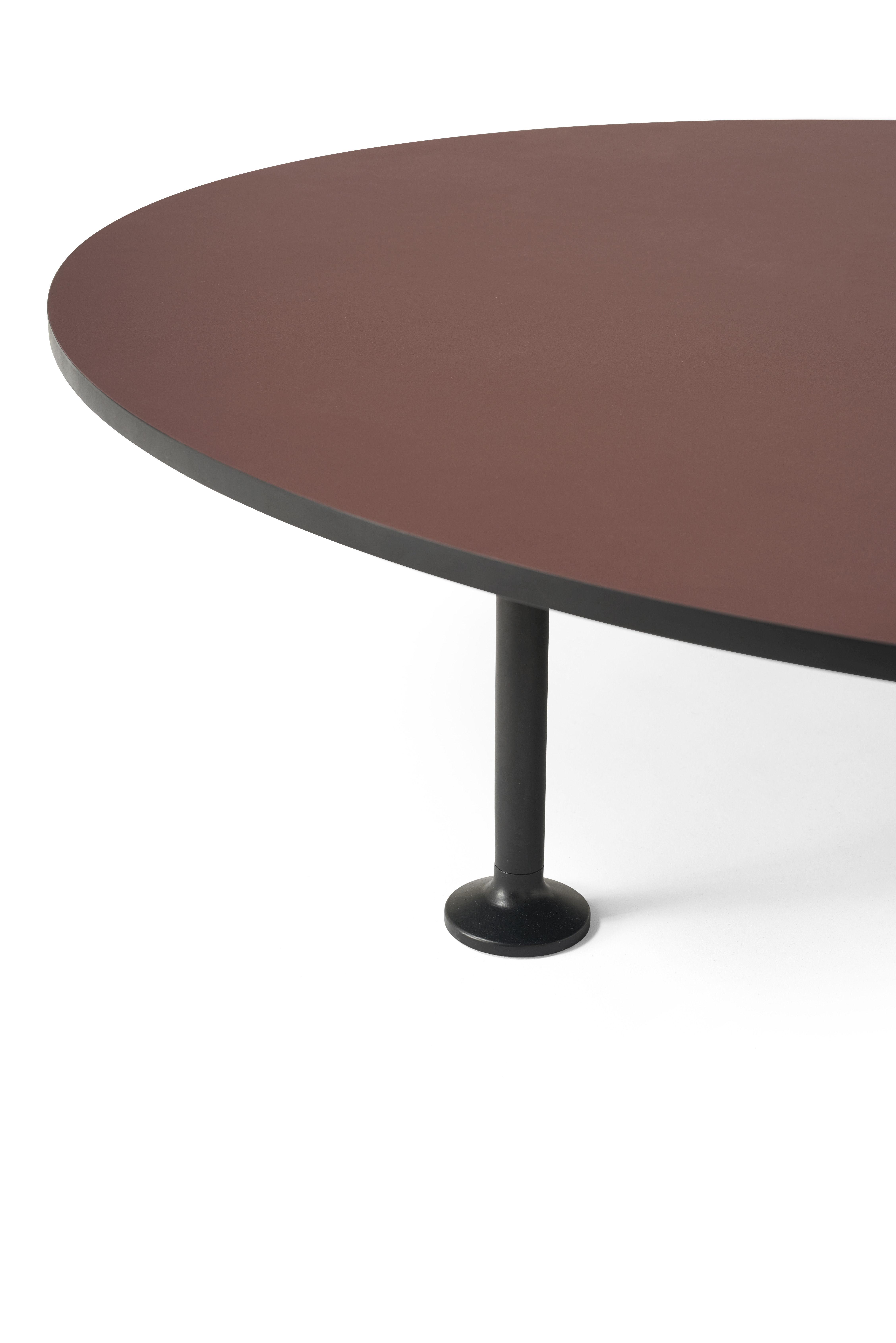 Table Basse Godot 90 Cm Linoleum Bordeaux Pieds Noirs Menu