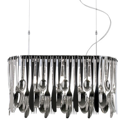 Lighting - Suspensions - Hungry Pendant by Fabbian - Small - L 43 cm - Stainless steel