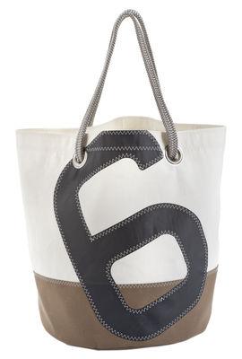 Accessoires - Sacs, trousses, porte-monnaie... - Cabas Big / Dacron® - Voile bateau recyclée - 727 Sailbags  - Beige & blanc / Chiffre gris - Tissu acrylique, Voile Dacron®