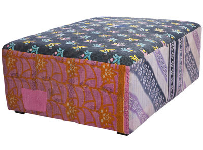 Furniture - Poufs - Antique Quilt Pouf by Hay - Multicoloured - Cotton, Pine, Polyurethane foam