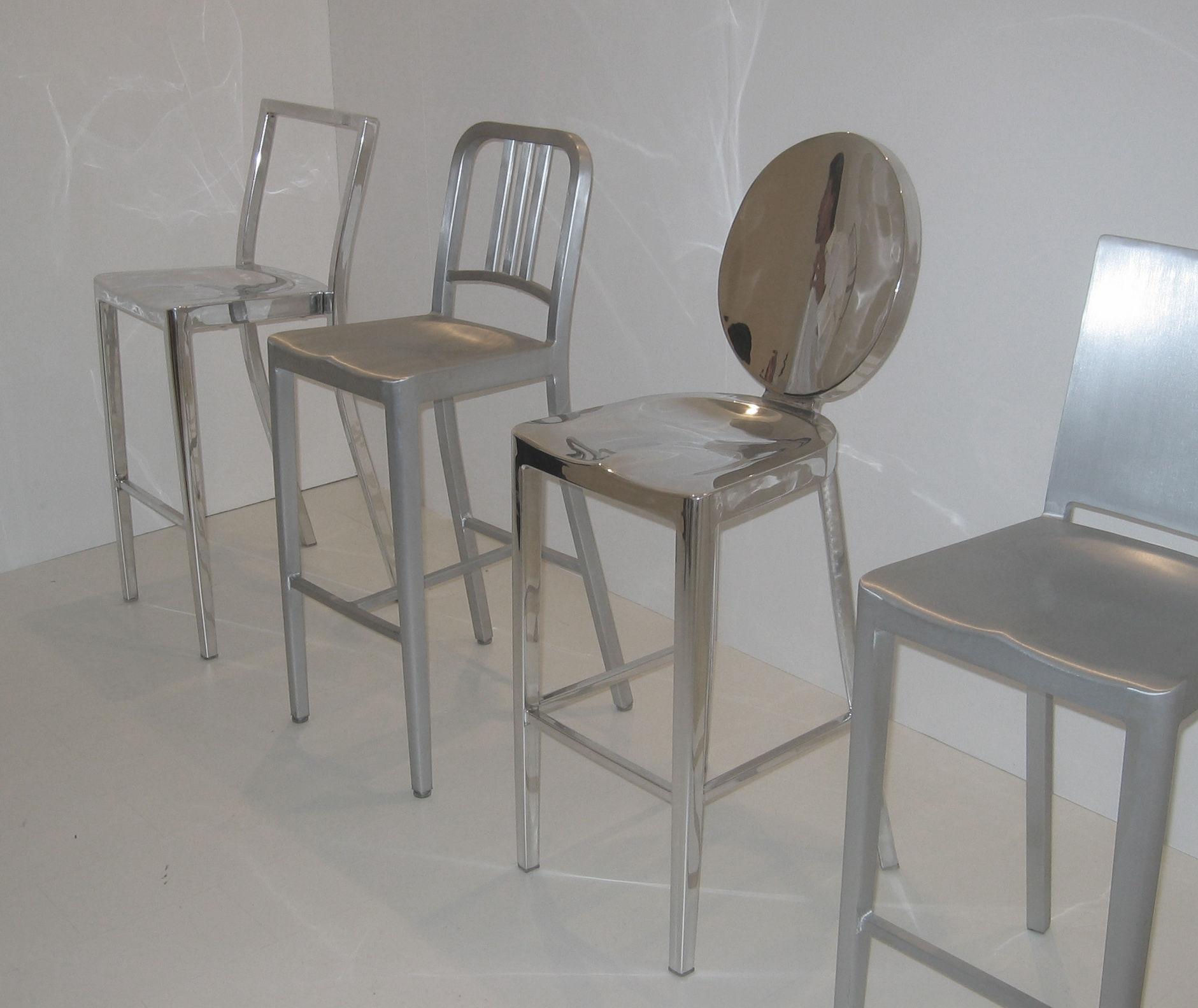 chaise de bar navy outdoor h 76 cm aluminium bross alu bross outdoor emeco made in. Black Bedroom Furniture Sets. Home Design Ideas