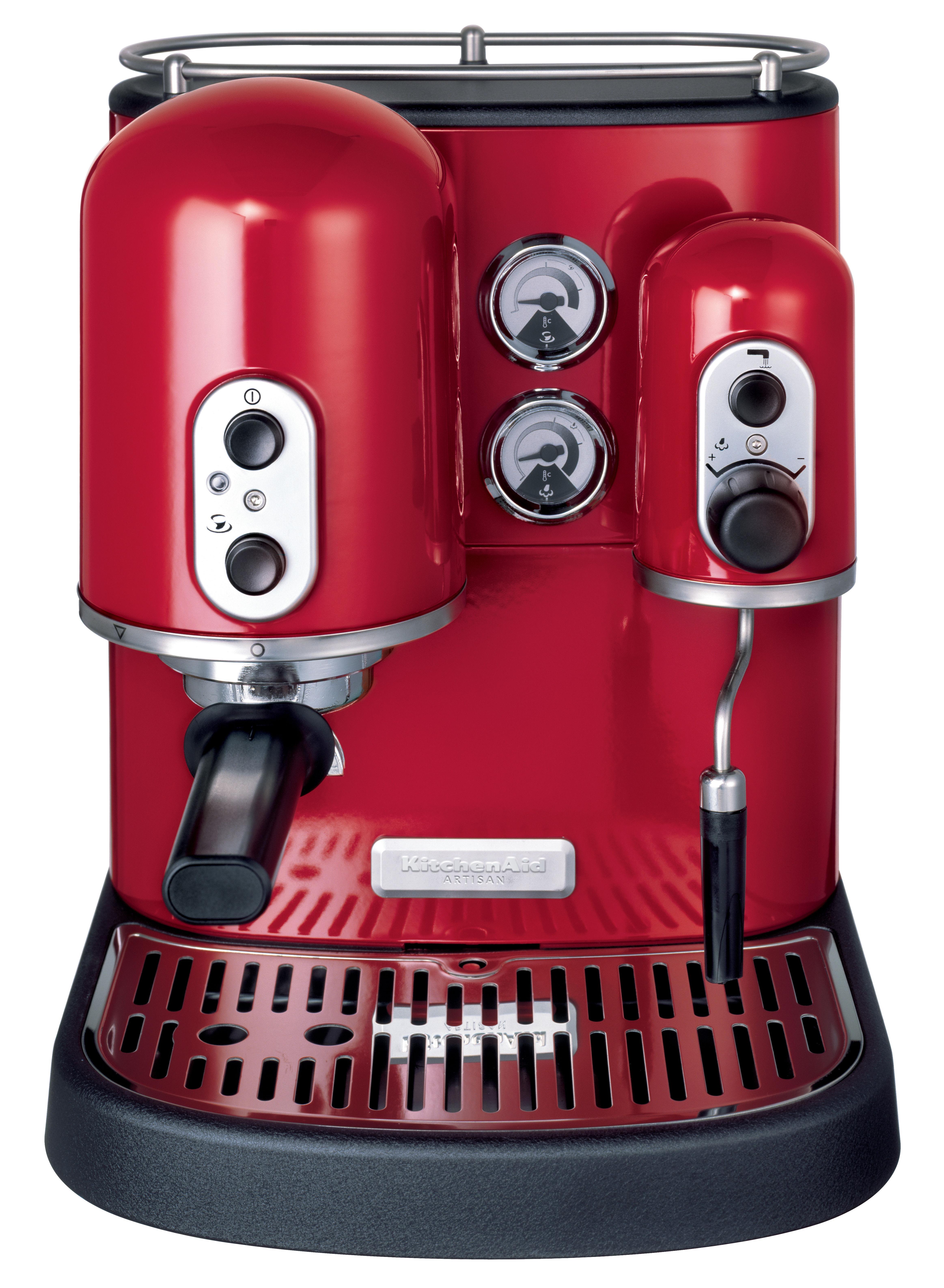 cafeti re expresso artisan pour dosettes et caf moulu rouge empire kitchenaid. Black Bedroom Furniture Sets. Home Design Ideas